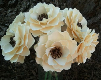 Paper Flowers - Wedding Flowers - Handmade - Stemmed - Custom Orders - Wide Variety Of Colors - Made To Order - SET OF 24