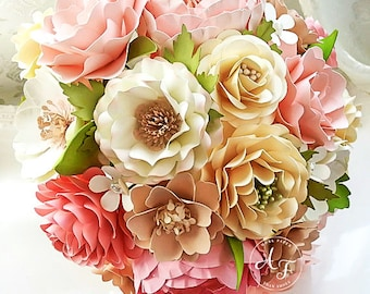 Paper Bouquet - Paper Flower Bouquet - Wedding Bouquet - Country Blush - Shades of Pink - Custom Made - Any Color