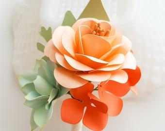 Paper Flower Boutonniere - Buttonhole - Paper Boutonniere - Paper Succulent  - Groom Bouts - Peach Boutonniere - Peach and Orange