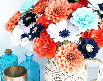 Paper Flowers, Stemmed Paper Flowers, Wedding Flowers, Paper Flower Bouquet, Coral and Navy Flowers, Set of 24 - Custom Made
