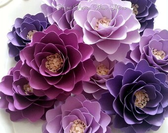 Paper Flowers - Weddings - Birthdays - Place Cards - Shades of Purple - ANY COLOR - Set of 25 - Made To Order
