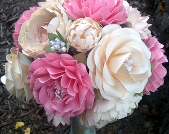 Paper Flower Bouquet - Wedding Bouquet - Handmade Paper Flowers - Pink and Cream - Custom Made - Any Color