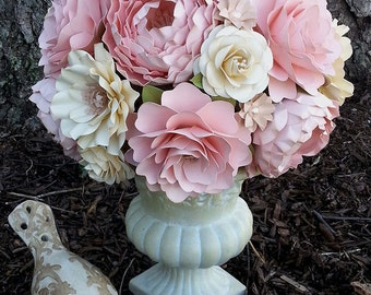 Paper Bouquet - Paper Flower Bouquet - Wedding Bouquet - Shabby Pink and Ivory - Custom Made - Any Color