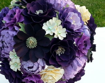 Paper Bouquet - Paper Flower Bouquet - Wedding Bouquet - Shades of Purple with a Splash of Ivory - Custom Made - Any Color