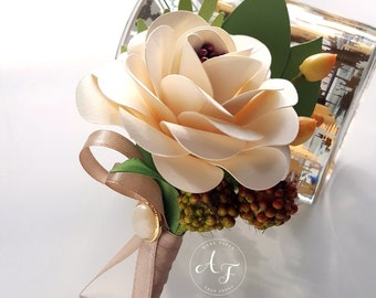 Paper Flower Boutonniere - Buttonhole - Wedding Boutoniere - Ivory Flower Bout - READY TO SHIP