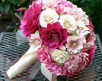 Paper Flower Bouquet - Wedding Bouquet - Bridal Bouquet - Shades of Pink - Custom Made