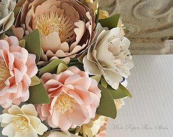 Paper Bouquet, Paper Flower Bouquet, Handmade Bouquet, Pink and Ivory Bouquet,Toss Bouquet, Wedding Bouquet, Music Notes, Shabby Chic