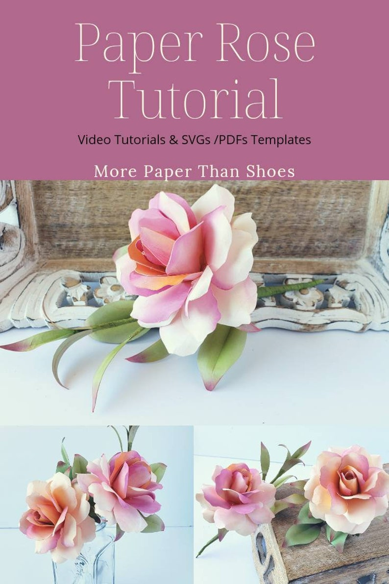 Easy Paper Flower Tutorial Paper Flower Templates Cybil Stemmed Rose 3d Flowers Svg Pdf Small Flowers Wedding Decor