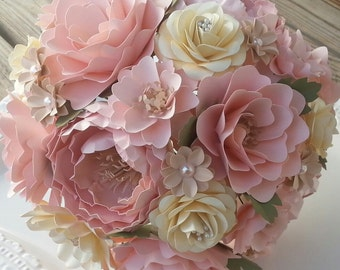 Paper Bouquet - Paper Flower Bouquet - Wedding Bouquet - Shabby Chic Pink and Ivory - Custom Made - Any Color