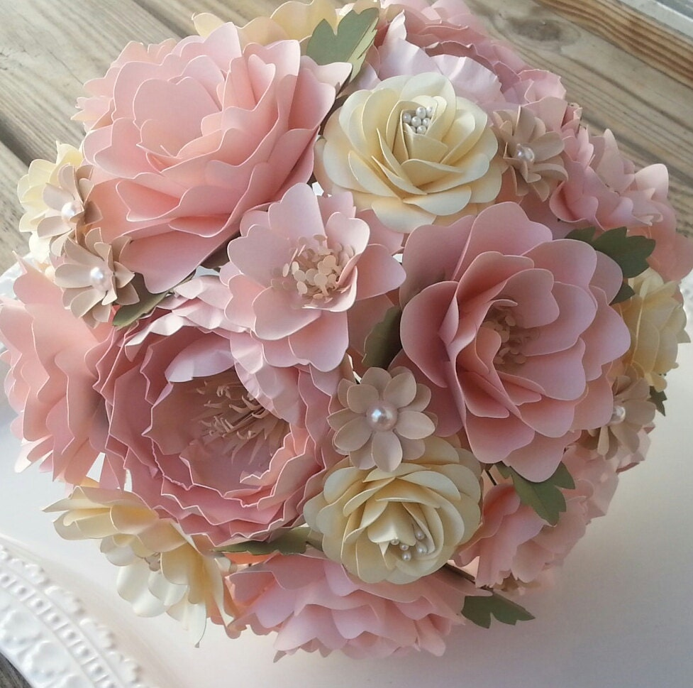 Handmade paper flower bouquet paper bouquet wedding bouquet shabby chic pink and ivory shabby chic themed wedding custom made zoom izmirmasajfo