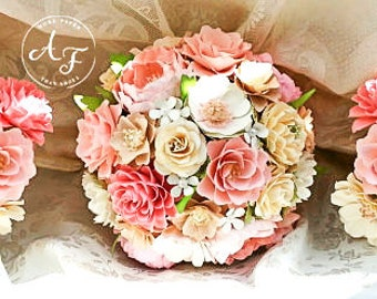 Paper Bouquet - Paper Flower Bouquet - Wedding Bouquet - Vintage Shabby Chic - Custom Made - Any Color Combo
