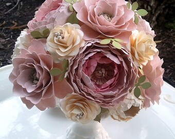 Paper Flower Bouquet - Shabby Chic - Wedding Bouquet - Bride or Bridesmaid - Made to Order - Any Color Combo
