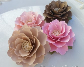 Paper Flowers - Placecards - Birthdays - Elizabeth Rose - Pink and Tan - ANY COLOR - Set of 25 - Made To Order