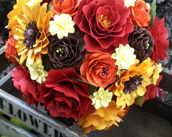 Paper Bouquet - Wedding Bouquet - Fall Bouquet - Paper Flowers - Custom Made - Any Color