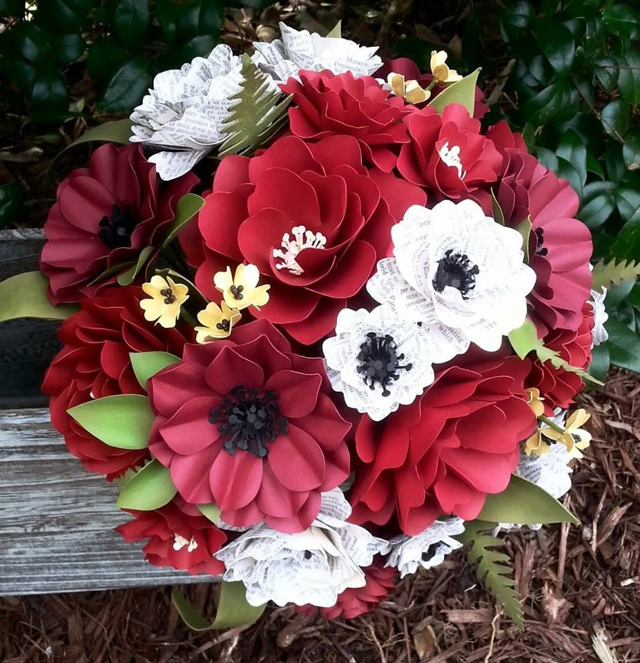 Wedding Bouquets Not Flowers: Paper Bouquet Paper Flower Bouquet Wedding Bouquet Red
