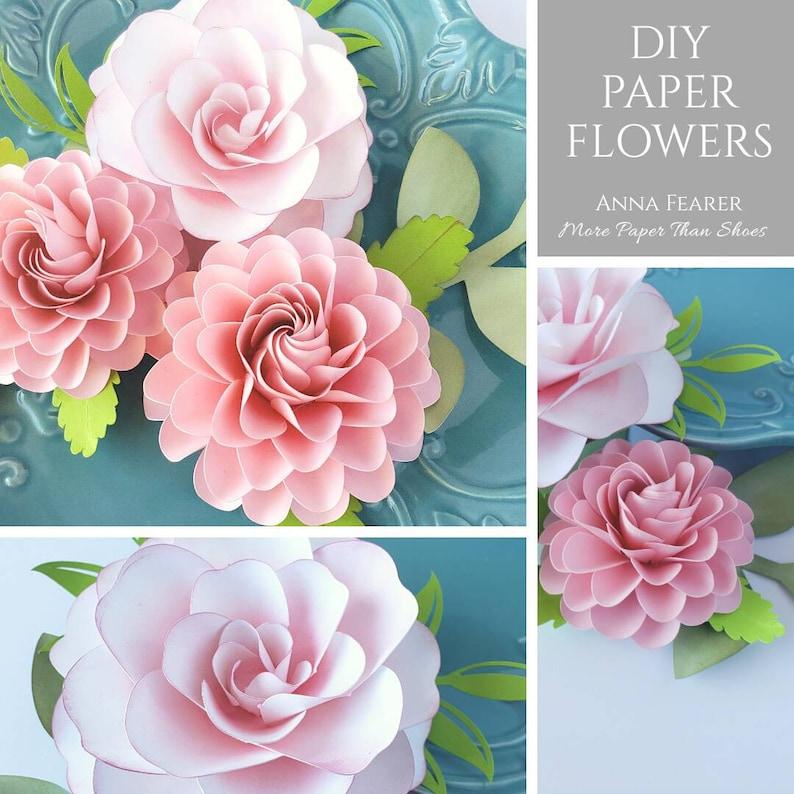 Easy Paper Flower Tutorial Paper Flower Templates Ashley Dahlia 3d Flowers Svg Pdf Small Flowers Party Decor Flower Bundle