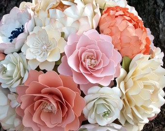 Paper Bouquet - Paper Flower Bouquet - Wedding Bouquet - Country White and Peach - Sahbby Chic  - Custom Made - Any Color