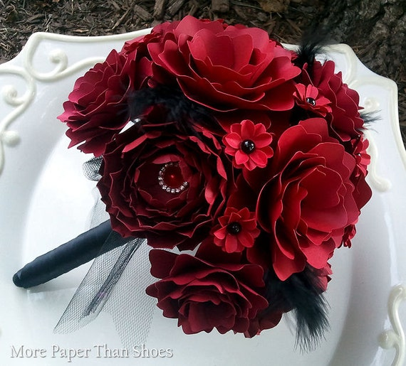 Paper flower bouquet wedding bouquet red and black etsy image 0 mightylinksfo