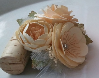 Handmade Paper Flowers - Corsages - Cream - Made To Order  - Flower Cluster - Custom Colors Available