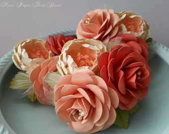 Wedding Corsages - Paper Flowers - Coral and Peach - Weddings - Bridal Shower - Baby Shower - Boutonniere - Set of 3 - Made To Order