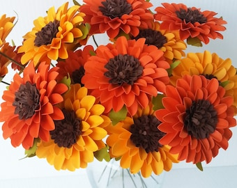 Paper Flowers - Sunflowers  -  Orange and Yellow - Weddings - Birthdays - Special Events - Mix Colors - Set of 24 - Made To Order