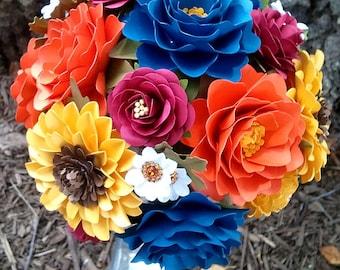 Bridal Bouquet, Paper Bouquet, Paper Flower Bouquet, Fall Wedding, Wedding Flowers, Paper Flowers, Sunflower Bouquet, Custom Bouquet, Toss