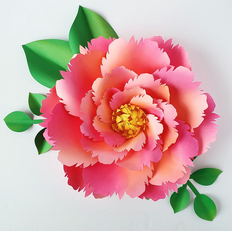 Easy Paper Flower Tutorial Paper Flower Templates Diy Flowers 3d Flowers Svg Pdf Large Flowers Party Decor Summer Sunset