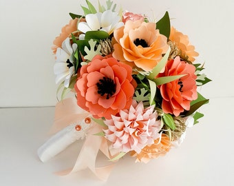 Paper Bouquet - Paper Flowers - Wedding Bouquet - Bridal Bouquet - Shades of Coral - MADE TO ORDER