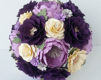 Paper Bouquet - Paper Flower Bouquet - Wedding Bouquet - Shades of Purple - Vintage - Custom Made - Any Color