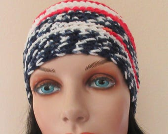 Red White & Blue Beanie, American Hat, USA Beanie, Red White and Blue Snow Hat, Gender Neutral Hat, Cold Weather Accessory