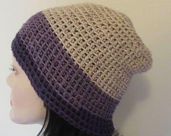 Beige Slouchy Hat, Lightweight Slouchy Beanie, Gender Neutral Beanie, Year Round Hat, Slouch Hat for Autumn, Plum Saggy Hat