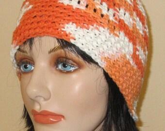 Orange and White Beanie, Cotton Crochet Hat, Spring Beanie, Summer Hat, Warm Weather Hat, Cotton Beanie, Beach Hat