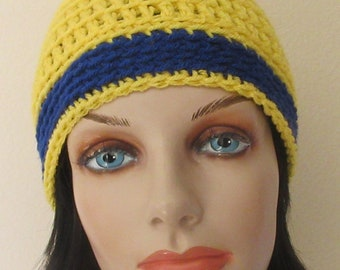 Yellow Blue Beanie, Sports Team Color Beanie, Hockey Mom, Hockey Dad, Snow Playing, Ice Skating