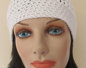 White Cotton Beanie, Crocheted Hat, Gender Neutral Beanie
