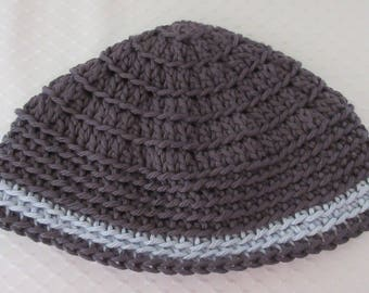 Dark Gray Light Blue Crocheted Kippot, Jewish Head Covering, Extra Large Kippah, Cotton Kippot