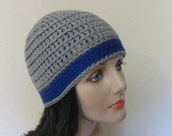 Gray and Royal Blue Beanie, Cold Weather Accessory, Gender Neutral Hat, Gray Snow Hat, Ice Skating, Snow Playing.,Hockey Mom, Hockey Dad