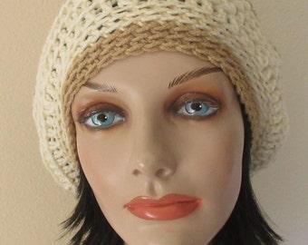 Beige Slouchy Hat,  Crochet Slouchy Beanie Hat, Unisex Slouchy Hat, Slouch Hat, Slouch Beanie, Boho Slouchy Hat, Boho Fashion