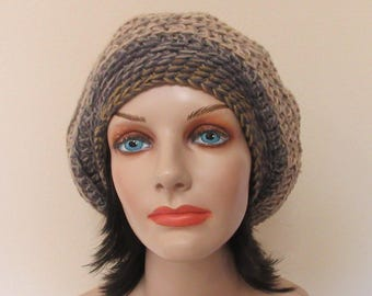 Crochet Slouchy Hat, Unisex Slouch Hat, Beige Slouchy Hat, Cold Weather Accessory