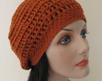 Burnt Orange Slouchy Hat, Pumpkin Spice Crocheted Slouchy Hat, Cold Weather Accessory, Slouch Hat, Slouch Beanie, Boho Beanie