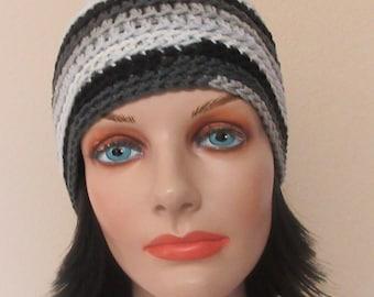 Gray Beanie, Crochet Gray, Black & White Hat, Gender Neutral Beanie, Ice Skating, Snow Playing, Hockey Mom, Hockey Dad