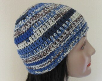 Blue Camouflage Beanie, Blue Crocheted Beanie, Cold Weather Accessory, Unisex Beanie, Blue Snow Hat, Ice Skating, Ski Hat