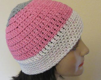 Pink Gray and White Beanie, Pink Gray and White Crochet Hat, Cold Weather Accessory, Pink Snow Hat, Ice Skating, Snow Playing, Hockey Mom