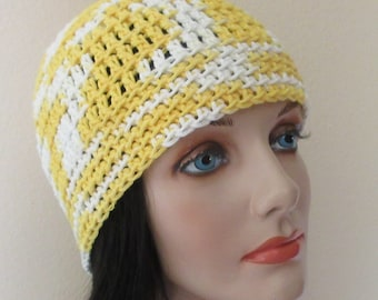 Yellow and White Cotton Beanie, Cotton Hat, Warm Weather Accessory