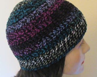 Black Beanie, Cold Weather Accessory, Hockey Mom, Ice Skating, Snow Playing, Multi Color Crochet Beanie, Colorful Hat