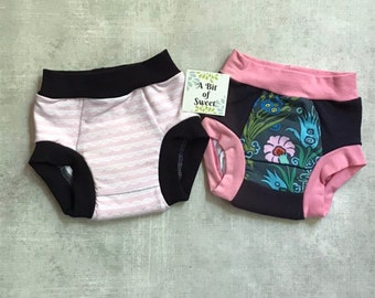 Floral and Lace Stripes Duo Pack of Trainer Underwear or Big Kid Undies