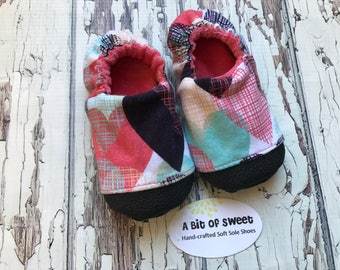 Coral, Mint and Black Hearts Made to Order Soft Sole Shoes