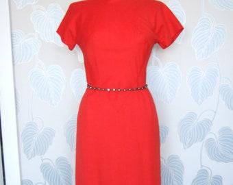 1950s Pauline Trigère Red Wiggle Dress