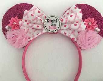 Custom Disney Breast Cancer Ribbon Awareness Fight Like a Girl Pink Sparkle floral Mouse Ears Headband Gift Favor Vacation