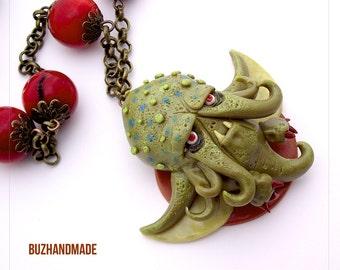 Chthulu Dragon - FANTASY Necklace - polymer CLAY