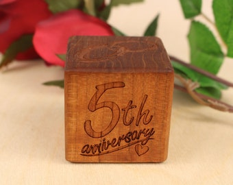 Anniversary Gift, PERSONALIZED 5th Anniversary Block, Fifth Anniversary, Solid Cherry, Laser Engraved, Wooden Anniversary, Paul Szewc